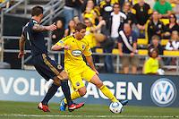 24 OCTOBER 2010:  Philadelphia Union defender Danny Califf (4) and Columbus Crew midfielder/forward Robbie Rogers (18) during MLS soccer game at Crew Stadium in Columbus, Ohio on August 28, 2010.