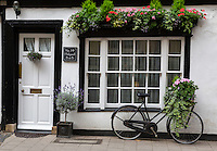 UK, England, Oxford.  House and Bicycle on  Holywell Street.