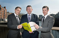 **NO FEE PIC ***23/04/2015Members of the Editorial team (L to r)Eamonn O' Connor Cullen Fellowship ,  Liam Lacey, Director of the Irish Maritime Development Office & Michael Egan IMDO Stagiareduring the  launch by the Irish Maritime Development Office (IMDO) of its Irish Maritime Transport Economist report at the Morrison Hotel , Dublin.Photo:  Gareth Chaney Collins