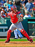1 March 2009: St. Louis Cardinals' catcher Yadier Molina in action during a Spring Training game against the Florida Marlins at Roger Dean Stadium in Jupiter, Florida. The Cardinals outhit the Marlins 20-13 resulting in a 14-10 win for the Cards. Mandatory Photo Credit: Ed Wolfstein Photo
