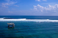 G-Land, Java, Indonesia. An arial view of the line up and Gary Elkerton (AUS) surfing a heat  during the running of the 1996 Quiksilver G-Land Pro. The contest was won by Shane Beschen (HAW) with Elkerton in second place..Photo: joliphotos.com