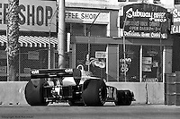 LONG BEACH, CA: Patrick Depailler drives the Tyrrell P34 2/Ford Cosworth DFV through the final turn onto the pit straight during practice for the United States Grand Prix West on April 3, 1977, at the Long Beach street circuit in Long Beach, California.