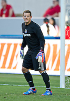 CARSON, CA - July 7, 2012: Chivas USA goalie Dan Kennedy (1) prior to the Chivas USA vs Vancouver Whitecaps FC match at the Home Depot Center in Carson, California. Final score Vancouver Whitecaps FC 0, Chivas USA 0.
