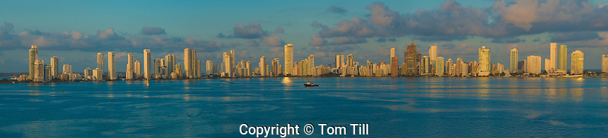 Cartagena, Bolivar, Colombia skyline at dawn, Cartagena Bay,  Caribbean Sea