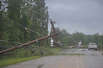 Downed electric lines on County Road 101 near the Lafayette County Industrial Park in Oxford, Miss. on Wednesday, April 27, 2011.
