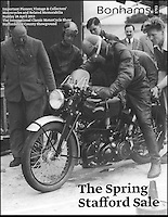 BNPS.co.uk (01202 558833).Pic: JamesWright/Bonhams/BNPS..***Please Use Full Byline***..Picture taken during the 1952 record runs...An historic bike from a bygone age when Britain ruled the motorcycle world has sold for an astonishing £113,500...The beautiful and unique Vincent Black Shadow motorbike was used in world record speed trials in the 1950's at which world records were set by the tiny British company...The trials in Montlhery, France, in 1952 set a 6 hour speed record  at over 100 mph - an astonishing achievement for the time...The tiny British company was so far ahead of its time that in wasn't until the 1970's that Japanese manufacturers came along with faster production machines...The beautifully restored bike was sold by George Petch from Grimsby who had owned the historic bike for over 40 years...Bonhams sold the bike at their West Stafford sale....