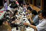 "Customers enjoy dinner aboard a ""Yakata-bune"" pleasure boat run by the Yasuda family in Tokyo, Japan on 30 August  2010. .Photographer: Robert Gilhooly"