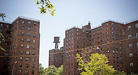 The  NYCHA Jacob Riis Houses complex of apartments in the East Village neighborhood of New York on Saturday, July 5, 2014.  (© Richard B. Levine)