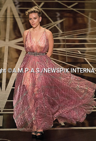 26.02.2017; Hollywood, USA: SCARLET JOHANSSON<br /> at The 89th Annual Academy Awards at the Dolby&reg; Theatre in Hollywood.<br /> Mandatory Photo Credit: &copy;AMPAS/NEWSPIX INTERNATIONAL<br /> <br /> IMMEDIATE CONFIRMATION OF USAGE REQUIRED:<br /> Newspix International, 31 Chinnery Hill, Bishop's Stortford, ENGLAND CM23 3PS<br /> Tel:+441279 324672  ; Fax: +441279656877<br /> Mobile:  07775681153<br /> e-mail: info@newspixinternational.co.uk<br /> Usage Implies Acceptance of Our Terms &amp; Conditions<br /> Please refer to usage terms. All Fees Payable To Newspix International