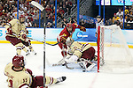 07 APR 2012:  Goalie Parker Milner (35) of Boston College makes a save against Ferris State University during the Division I Men's Ice Hockey Championship held at the Tampa Bay Times Forum in Tampa, FL.  Boston College defeated Ferris State 4-1 to win the national title.  Matt Marriott/NCAA Photos