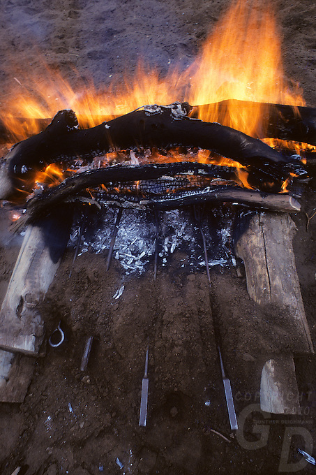 Heating up the Branding Iron for branding cattle at an Outback  Cattle station in the Northern Territory, Australia