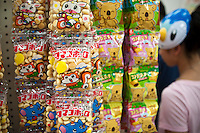 Japanese candy at Mitsuwa asian market during their Obon summer festival in Edgewater, NJ on Saturday. August 18, 2012. The supermarket chain of nine stores located across the country sells Japanese food and goods.  The company holds a yearly summer festival inviting customers to their facilities to enjoy traditional food and partake of the many sales offered on their merchandise. (© Richard B. Levine)