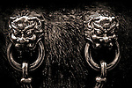 Lion Head handles on ancient Chinese vat in the Forbidden City containing water in case of fire.