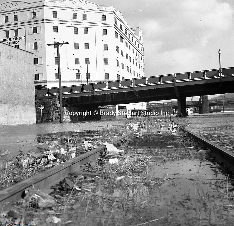 Pittsburgh PA:  View of the high water from the Allegheny River after a snow melt. View of Sandusky Street and River Avenue under water near the B&O Railroad Terminal on the North Side - 1959.