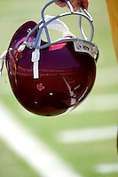 17 May 2005: Helmet, reflection, sideline, Football, grass, field, marker, goal line, chalk, stock, closeup, texture, Sports Ball graphic detail, illustration, product, art, clean. Ready for all uses.  Mandatory Credit:  Shelly Castellano
