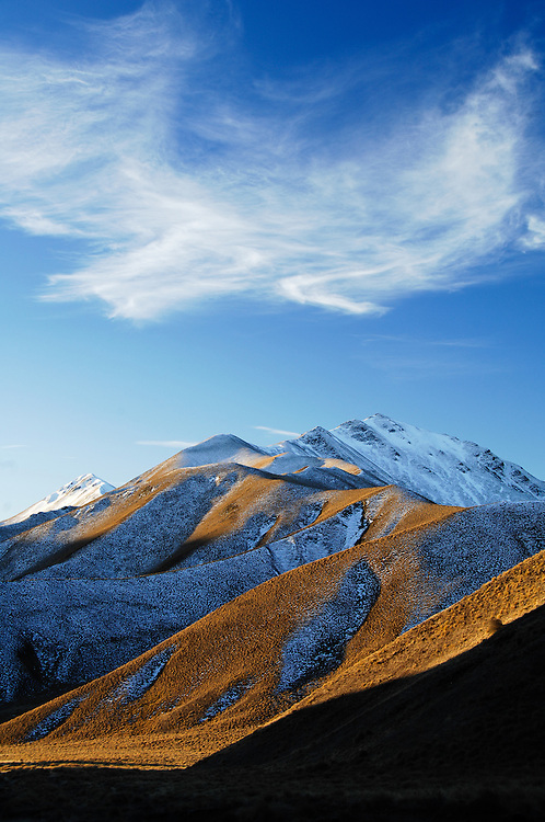 Late afternoon light, Lindis Pass, Central Otago, South Island, New Zealand - stock photo, canvas, fine art print