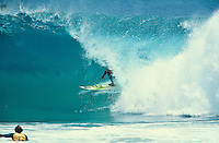 Kelly Slater (USA) surfing Kirra during the swell generated from Cyclone Betsy. Betsy is considered one of the best cyclone swells in the past 20 years. Kirra Point, Coolangatta, Queensland, Australia. circa 1992. Photo: joliphotos.com