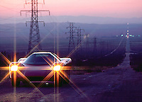 Omega Electric Car, Mojave Desert, 1980. Photo by John G. Zimmerman