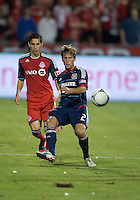 12 September 2012: Chicago Fire midfielder Wells Thompson #2 and Toronto FC midfielder Eric Avila #8 in action during an MLS game between the Chicago Fire and Toronto FC at BMO Field in Toronto, Ontario Canada. .The Chicago Fire won 2-1.