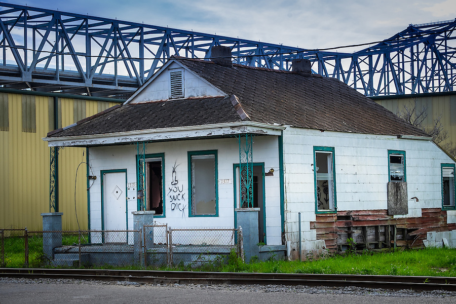 NEW ORLEANS - CIRCA FEBRUARY 2014: View of abandoned houses in Algiers Point, a popular community within the city of New Orleans in Louisiana.