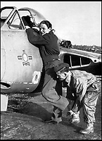 BNPS.co.uk (01202 558833)<br /> Pic: Pen&amp;Sword/BNPS<br /> <br /> Being assisted into a de Havilland Vampire for a test flight during the Korean crisis of 1950.<br /> <br /> he remarkable story of a British hero double amputee pilot who took to the skies during the Second World War has come to light.<br /> <br /> Flight Lieutenant Colin Hodgkinson lost his legs in a horror crash in a Tiger Moth in May 1939 but went on to emulate Sir Douglas Bader and fly Spitfires in the Royal Air Force.<br /> <br /> He even endured a spell in the Great Escape prisoner of war camp after being shot down over France in 1943 but rejoined the RAF after being repatriated.<br /> <br /> The pair were the only two British double amputee pilots to fly during the war - yet while Bader, rightly, is a household name, Flt Lt Hodgkinson's exploits have been largely forgotten.<br /> <br /> This has prompted historian Mark Hillier to publish Flt Lt Hodgkinson's autobiography 60 years after it was penned which he hopes will shine some limelight on a 'special' man whose courage he says was every bit as great as Baders'.<br /> <br /> Best Foot Forward, by Colin Hodgkinson, is published by Pen &amp; Sword.