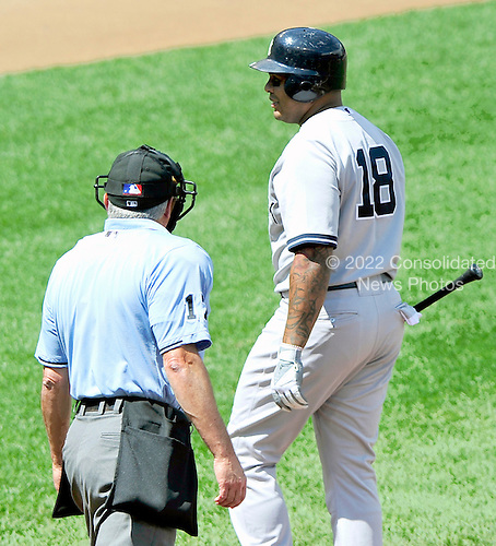 New York Yankees left fielder Andruw Jones (18) voices his displeasure with home plate umpire John Hirschbeck (17) after being called out on strikes in the second inning against the Baltimore Orioles at Oriole Park at Camden Yards in Baltimore, Maryland in the first game of a doubleheader on Sunday, August 28, 2011.  .Credit: Ron Sachs / CNP.(RESTRICTION: NO New York or New Jersey Newspapers or newspapers within a 75 mile radius of New York City)