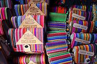 Mayan purses in Mercado 28 souvenirs and handicrafts market in  Cancun, Mexico      .