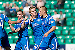 Hibs v St Johnstone.....30.04.11.Liam Craig celebrates his goal with Danny Grainger.Picture by Graeme Hart..Copyright Perthshire Picture Agency.Tel: 01738 623350  Mobile: 07990 594431