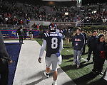 Ole Miss' Jeremiah Masoli (8) walks off the field at Vaught-Hemingway Stadium on Saturday, November 27, 2010. Mississippi State won 31-23.