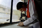 Student in a science class in the Lucie Harrison Girls High School in Lahore, run by the Church of Pakistan.