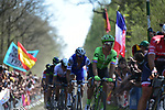 Sebastian Langeveld (NED) Cannondale-Drapac and Tom Boonen (BEL) Quick-Step Floors on pave sector 19 La Trouee d'Arenberg during the 115th edition of the Paris-Roubaix 2017 race running 257km Compiegne to Roubaix, France. 9th April 2017.<br /> Picture: ASO/P.Ballet | Cyclefile<br /> <br /> <br /> All photos usage must carry mandatory copyright credit (&copy; Cyclefile | ASO/P.Ballet)