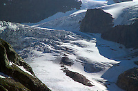 Silvretta Mountains, Ischgl, Austria, July 2004. The Vermunt gletscher seen from the Wiesbadener hutte.  Trekking from hut to hut in the Silvretta is a strenuous adventure, Many high alpine tours are possible, as long as you have experience in crossing glaciers and basic rock climbing. If you don't have experience and you are not afraid of heights most peaks can be climbed with local mountain guides. Photo by Frits Meyst/Adventure4ever.com