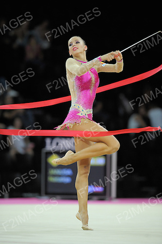 Rhythmic World Championships Montpelier France 21.9.11. Individual Competition ribbon & Clubs..DMITRIEVA performing ribbon in the qualifications