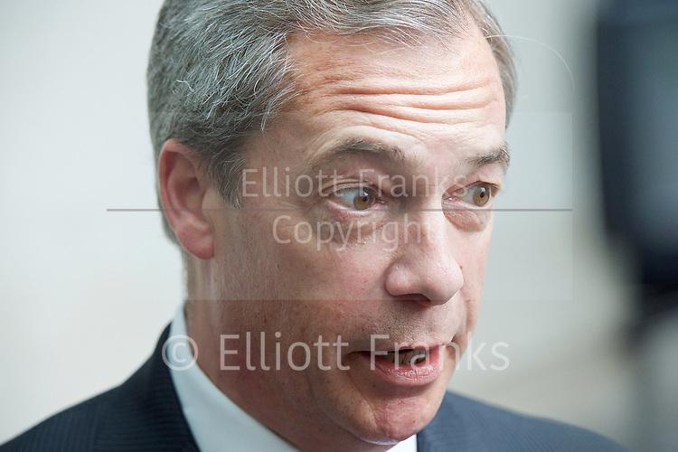 Andrew Marr Show departures<br /> BBC, Broadcasting House, London, Great Britain <br /> 12th March 2017 <br /> <br /> Nigel Farage arrives for Sunday Politics <br /> <br /> <br /> Photograph by Elliott Franks <br /> Image licensed to Elliott Franks Photography Services