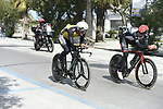 Riders recon the course before Stage 7 of the 2017 Tirreno Adriatico a 10km Individual Time Trial at San Benedetto del Tronto, Italy. 14th March 2017.<br /> Picture: La Presse/Fabio Ferrari | Cyclefile<br /> <br /> <br /> All photos usage must carry mandatory copyright credit (&copy; Cyclefile | La Presse)