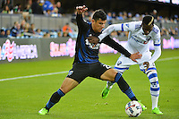 San Jose, CA - Saturday, March 04, 2017: Nick Lima, Ambroise Oyongo prior to a Major League Soccer (MLS) match between the San Jose Earthquakes and the Montreal Impact at Avaya Stadium.