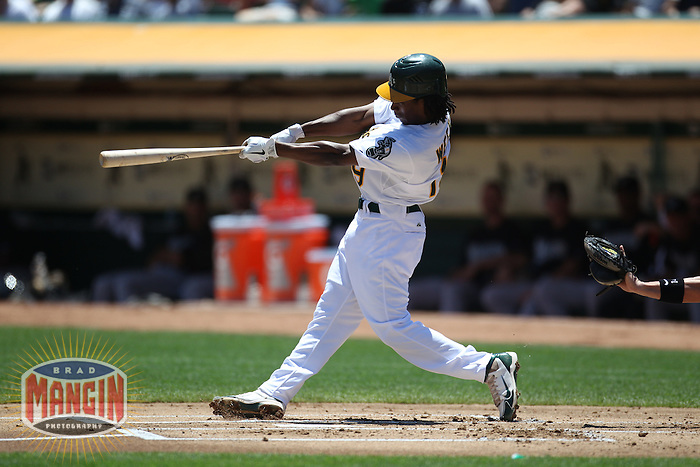 OAKLAND, CA - JUNE 30:  Jemile Weeks #19 of the Oakland Athletics bats against the Florida Marlins during the game at the Oakland-Alameda County Coliseum on June 30, 2011 in Oakland, California. Photo by Brad Mangin