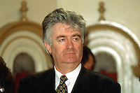 """Yougoslavia. Bosnia. Serbian republic. Bijelina. Radovan Karadzic. Celebration for """"Vidovdan"""" day. Each year on the 28th of June, the serbs celebrate the day of the army. Religious service in the orthodox church. Radovan Karadzic was arrested in Belgrade on 21 July 2008. He was extradited to the Netherlands, and is currently in The Hague, in the custody of the International Criminal Tribunal for the former Yugoslavia. © 1995 Didier Ruef"""