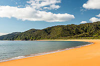Saturated orange colours of Totaranui beach after sunrise on Abel Tasman Coast Track, Abel Tasman National Park, Nelson Region, South Island, New Zealand