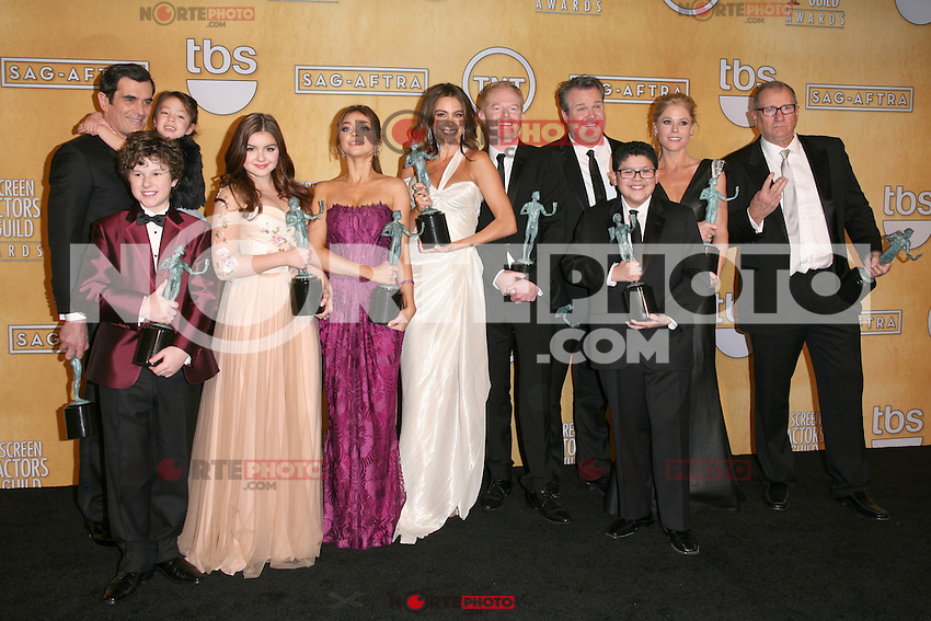 LOS ANGELES, CA - JANUARY 27: The Cast of Modern Family in the press room at The 19th Annual Screen Actors Guild Awards at the Los Angeles Shrine Exposition Center in Los Angeles, California. January 27, 2013. Credit: mpi27/MediaPunch Inc. /NortePhoto /NortePhoto