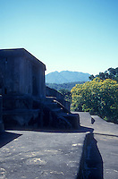 View from the top of the main pyramid at the Mayan ruins of El Tazumal in El Salvador Central America