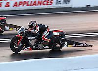 May 30, 2014; Englishtown, NJ, USA; NHRA pro stock motorcycle rider Eddie Krawiec during qualifying for the Summernationals at Raceway Park. Mandatory Credit: Mark J. Rebilas-