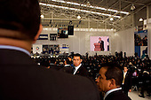 Mexico City, Mexico<br /> June 16, 2008<br /> <br /> Hundreds of Federal Police gather as Secretary of Public Security Genaro Garcia Luna speaks during the opening ceremony of a new federal police center. The first of ten scheduled to open around the country.