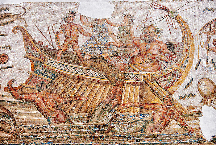 Roman mosaic depicting Dionysus repelling pirates from his ship.  He is accompanied by Acoetes, the helmsman and his tutor Silenus, right. Dionysus, in the form a panther, centre,  is repelling pirates from his ship who turn into dolphins as they jump overboard . Dated from the reign of Emperor Gallienus, 260-280 AD from the the house of Dionysus and Ulysses, Dougga. Roman mosaics from the north African Roman province of Africanus . Inv 2884B Bardo Museum, Tunis, Tunisia.