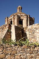 Ruined Spanish colonial chapel Capilla del Refugio in the 19th century mining town of Mineral de Pozos, Guanajuato, Mexico..