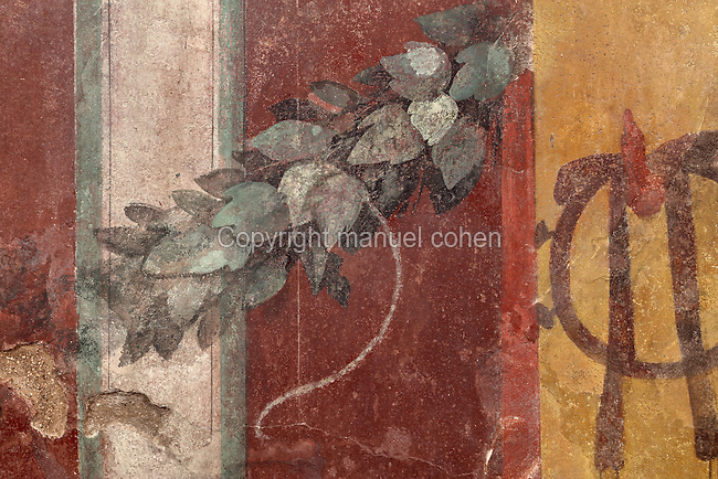 Fresco detail of a leaf garland from the Cryptoporticus, a vaulted corridor used for storing wine, in the Casa del Criptoportico, or House of the Cryptoporticus, Pompeii, Italy. The house is one of the largest in Pompeii and was owned by the Valerii Rufi family and built in the 3rd century BC. It takes its name from the underground corridor or cryptoporticus used as a wine cellar and lit by small windows. Pompeii is a Roman town which was destroyed and buried under 4-6 m of volcanic ash in the eruption of Mount Vesuvius in 79 AD. Buildings and artefacts were preserved in the ash and have been excavated and restored. Pompeii is listed as a UNESCO World Heritage Site. Picture by Manuel Cohen