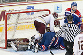 Danny Linell (BC - 10), Jake Suter (UML - 28), Scott Savage (BC - 28), A.J. White (UML - 18) - The Boston College Eagles defeated the visiting University of Massachusetts Lowell River Hawks 3-0 on Friday, February 21, 2014, at Kelley Rink in Conte Forum in Chestnut Hill, Massachusetts.