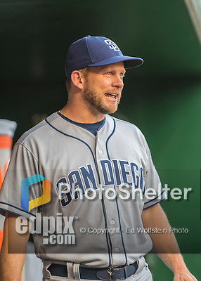 23 July 2016: San Diego Padres Manager Andy Green stands in the dugout prior to a game against the Washington Nationals at Nationals Park in Washington, DC. The Nationals defeated the Padres 3-2 to tie their series at one game apiece. Mandatory Credit: Ed Wolfstein Photo *** RAW (NEF) Image File Available ***