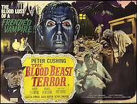 BNPS.co.uk (01202 558833)<br /> Pic: Cottees/BNPS<br /> <br /> The Blood Beast Terror 1968 film poster, Tigon British Film Production starring Peter Cushing.<br /> <br /> A horror fan has sold his chilling collection of cult movie posters - for a shocking &pound;25,000.<br /> <br /> The unnamed film buff collected over 100 posters that advertised scary movies like Dracula, Frankenstein, The Wicker Man and the Hammer Horror franchise.<br /> <br /> He has now sold them at Cottees Auctions of Wareham, Dorset, with one rare Dracula poster fetching over &pound;5,000 alone.