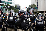 Police block off roads from protestors during the 2012 Republican National Convention in Tampa, Fla. on Aug. 27, 2012.